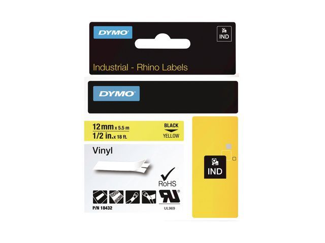 Tape Dymo Rhino 18432 vinyl 12 mm geel